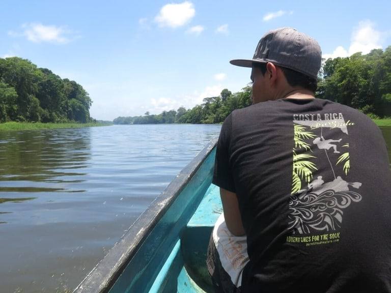 Student on boat. Wilderness and Adventure Therapy for Young Adults. Pure Life in Costa Rica.