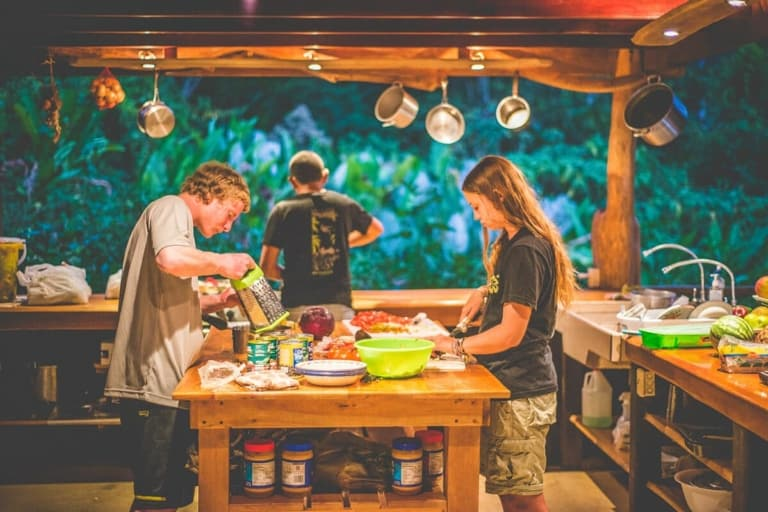 Students cooking. Wilderness and Adventure Therapy for Young Adults. Pure Life in Costa Rica.