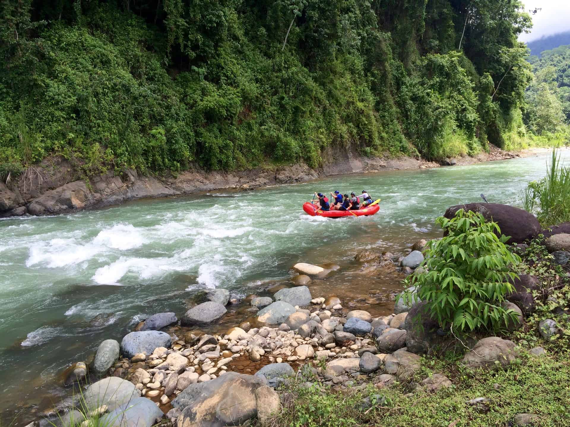 Rafting on the Savegre River.