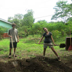 Students gardening. Wilderness and Adventure Therapy for Young Adults. Pure Life in Costa Rica.