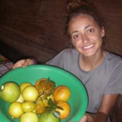 Student with fruit bowl. Wilderness and Adventure Therapy for Young Adults. Pure Life in Costa Rica.