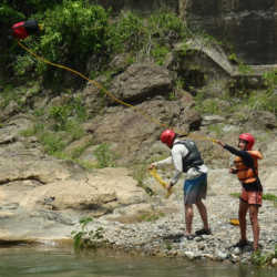 Students at river. Wilderness and Adventure Therapy for Young Adults. Pure Life in Costa Rica.