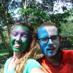 Students face paint. Wilderness and Adventure Therapy for Young Adults. Pure Life in Costa Rica.