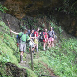 Students hiking. Wilderness and Adventure Therapy for Young Adults. Pure Life in Costa Rica.